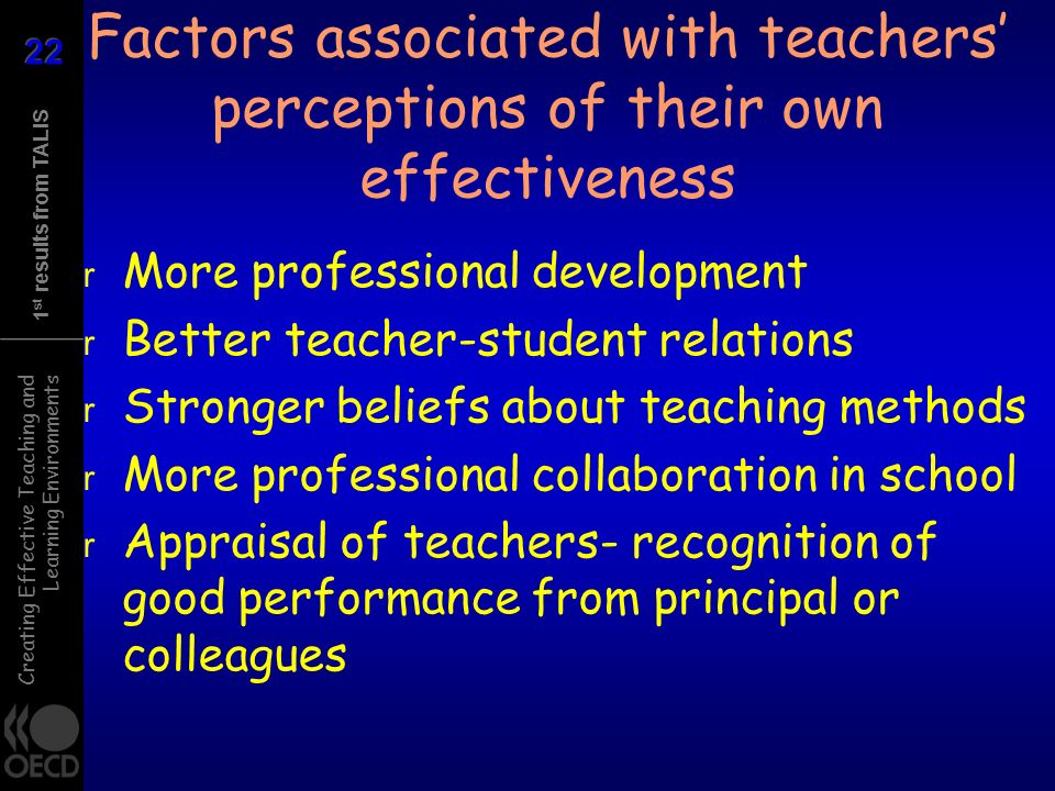 Creating Effective Teaching and Learning Environments 1 st results from TALIS Factors associated with teachers perceptions of their own effectiveness