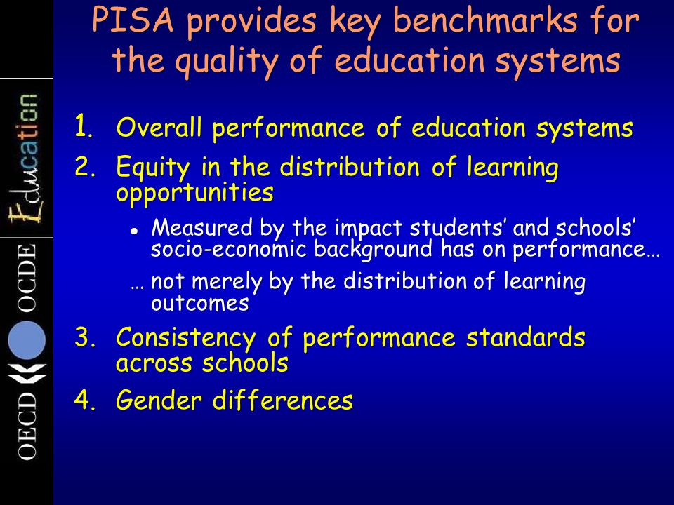 Strategy for an evaluation of the policy impact of PISA r Effectiveness – Specific questions To what extent are the participating countries and other stakeholders aware of the output results of PISA.