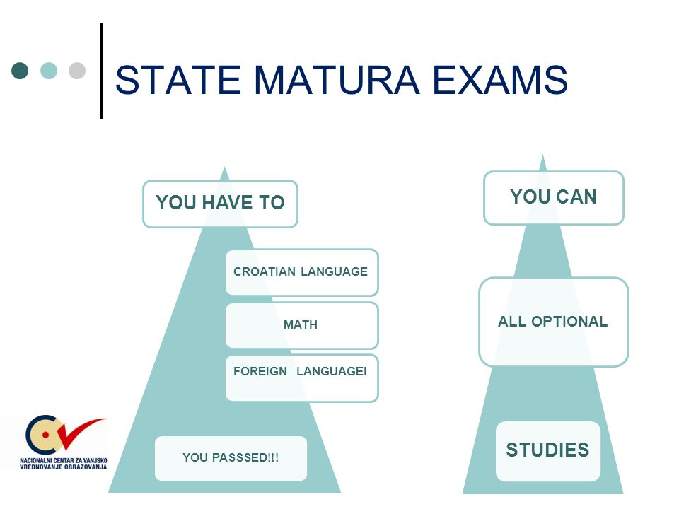 STATE MATURA EXAMS YOU HAVE TO CROATIAN LANGUAGEMATH FOREIGN LANGUAGEI YOU PASSSED!!.