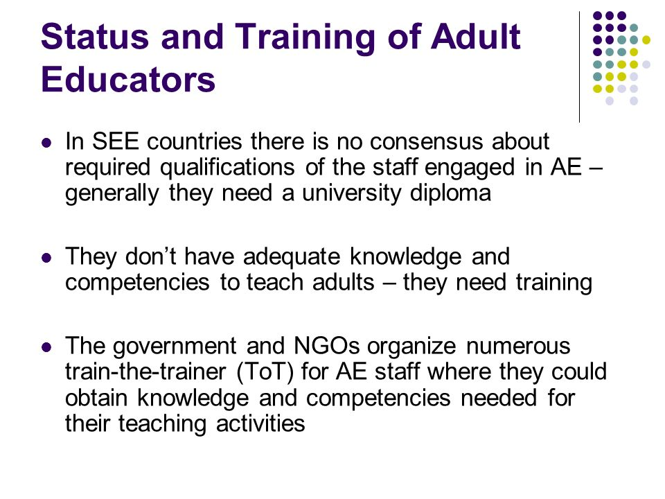 Status and Training of Adult Educators In SEE countries there is no consensus about required qualifications of the staff engaged in AE – generally they need a university diploma They dont have adequate knowledge and competencies to teach adults – they need training The government and NGOs organize numerous train-the-trainer (ToT) for AE staff where they could obtain knowledge and competencies needed for their teaching activities