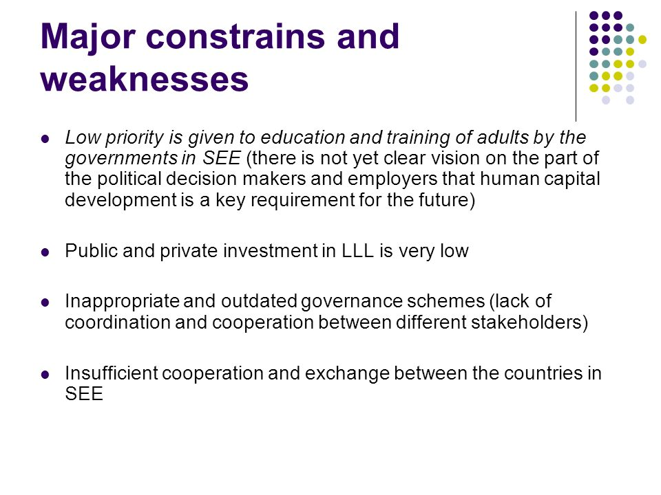 Major constrains and weaknesses Low priority is given to education and training of adults by the governments in SEE (there is not yet clear vision on the part of the political decision makers and employers that human capital development is a key requirement for the future) Public and private investment in LLL is very low Inappropriate and outdated governance schemes (lack of coordination and cooperation between different stakeholders) Insufficient cooperation and exchange between the countries in SEE