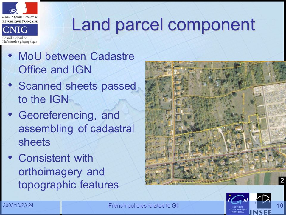 2003/10/23-24 French policies related to GI10 Land parcel component MoU between Cadastre Office and IGN Scanned sheets passed to the IGN Georeferencin