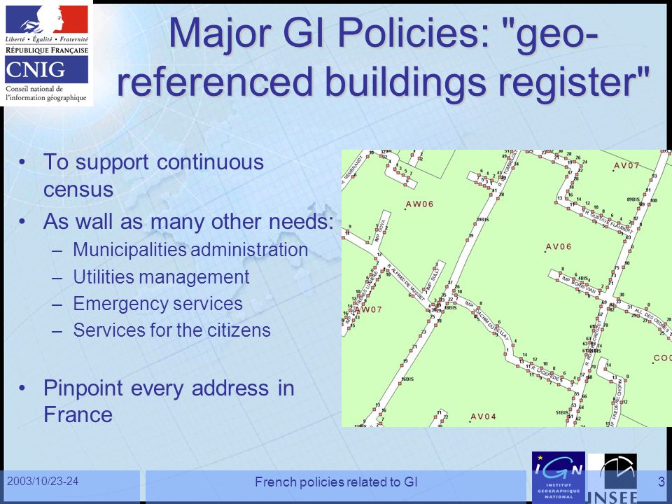 2003/10/23-24 French policies related to GI3 Major GI Policies: