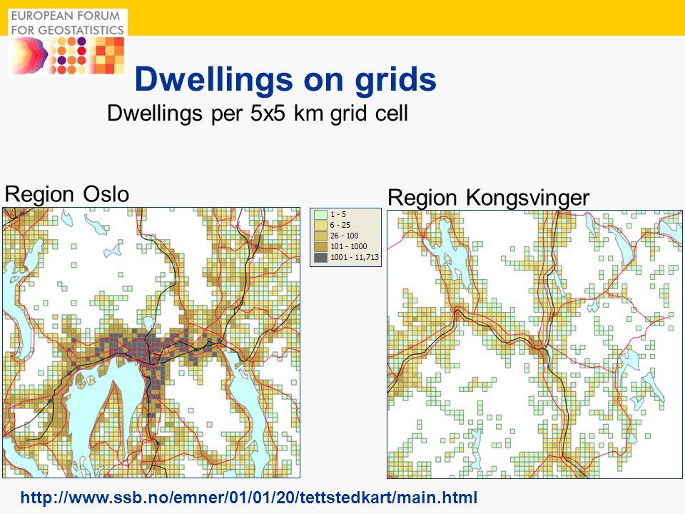 11 Dwellings on grids http://www.ssb.no/emner/01/01/20/tettstedkart/main.html Region Oslo Region Kongsvinger Dwellings per 5x5 km grid cell