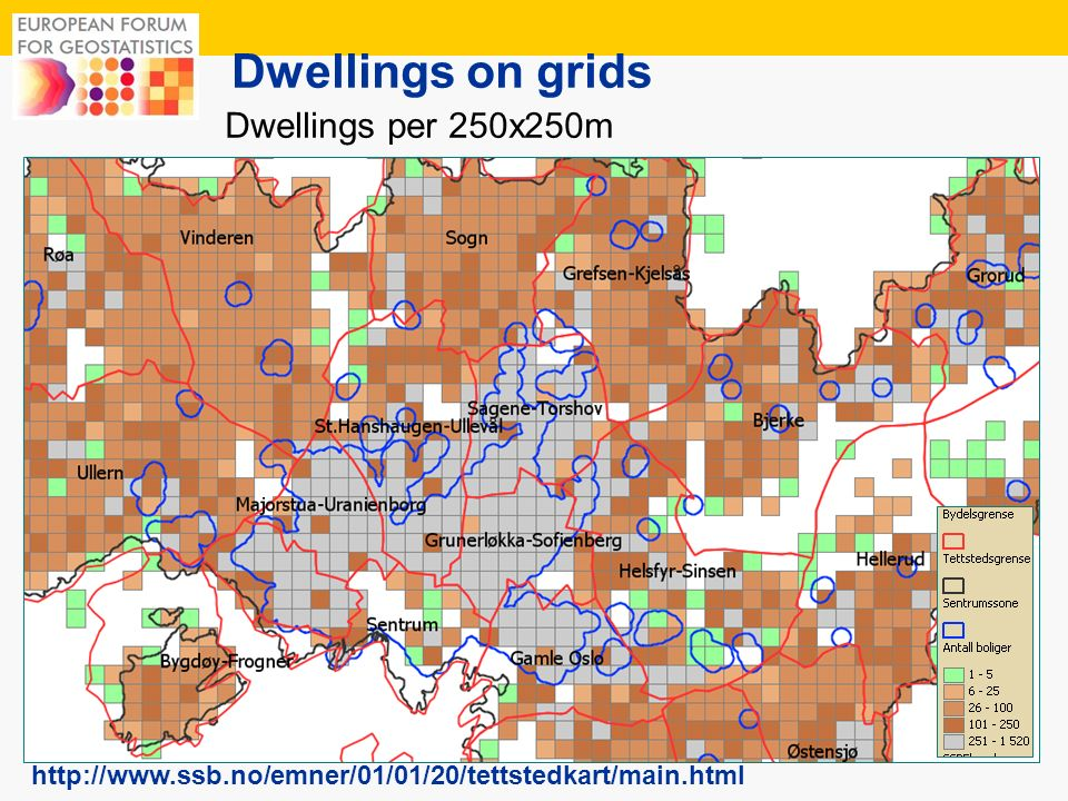 12 Dwellings on grids Dwellings per 250x250m http://www.ssb.no/emner/01/01/20/tettstedkart/main.html
