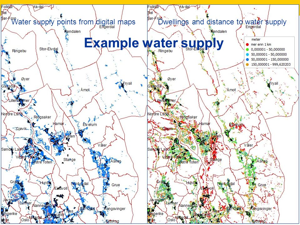 9 Water supply points from digital maps Example water supply Dwellings and distance to water supply