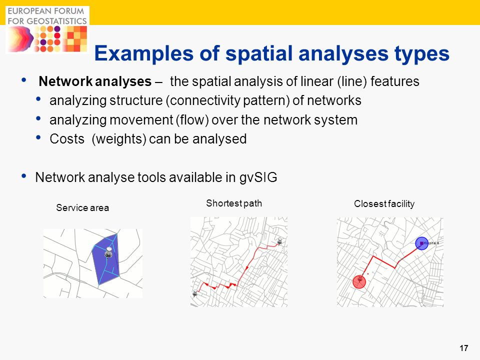 Examples of spatial analyses types 17 Network analyses – the spatial analysis of linear (line) features analyzing structure (connectivity pattern) of