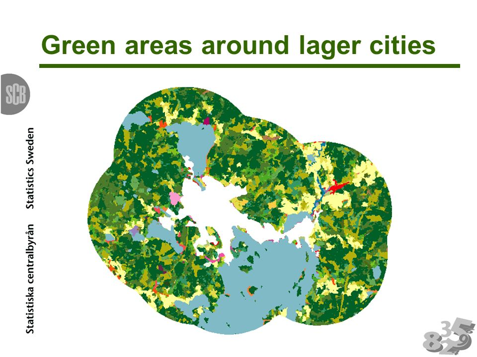 Green areas around lager cities