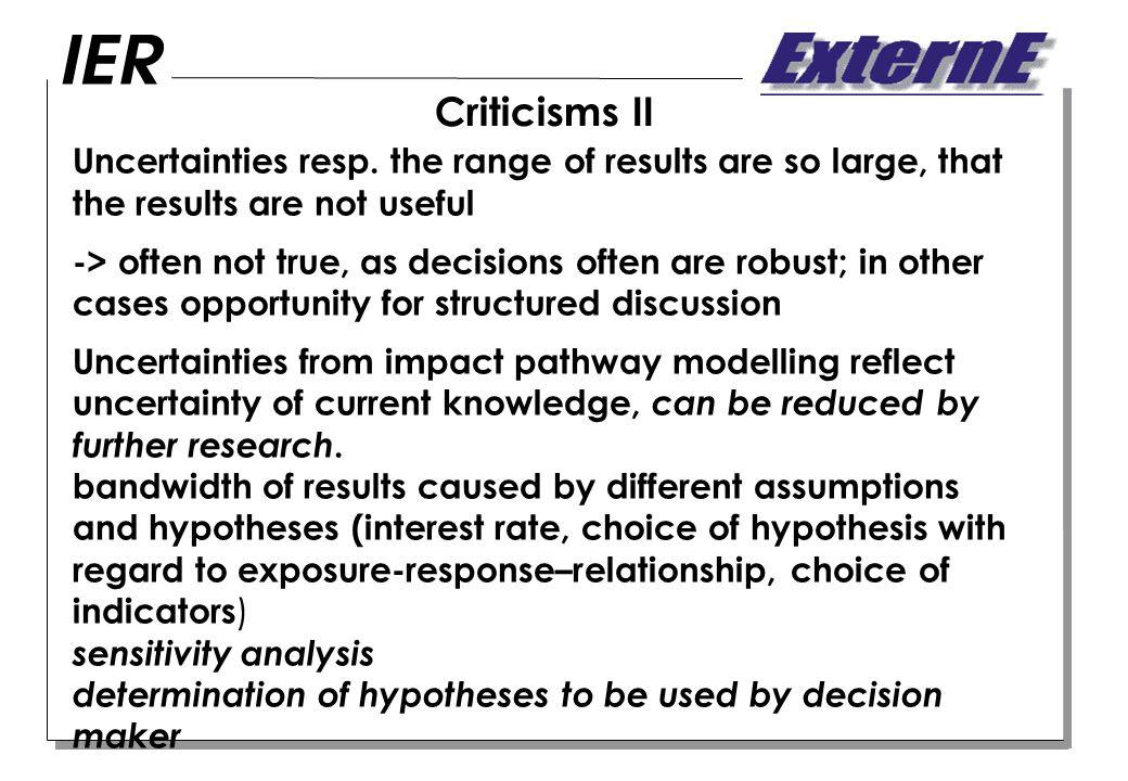 Criticisms II Uncertainties resp.