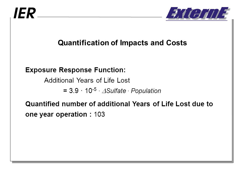Quantification of Impacts and Costs Exposure Response Function: Additional Years of Life Lost = 3.9 · · Sulfate · Population Quantified number of additional Years of Life Lost due to one year operation : 103