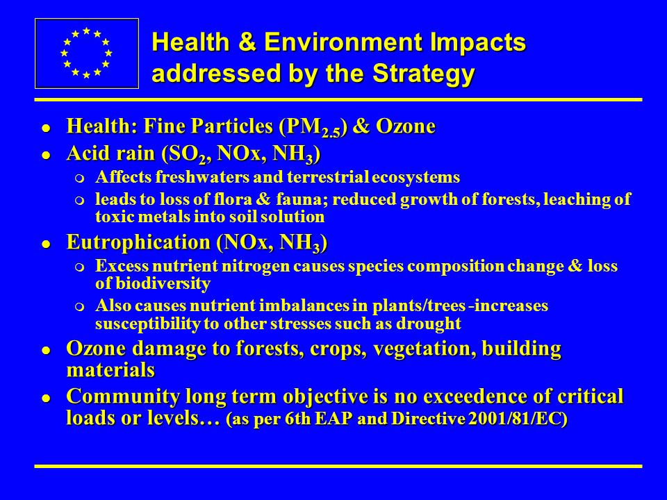 Health & Environment Impacts addressed by the Strategy l Health: Fine Particles (PM 2.5 ) & Ozone l Acid rain (SO 2, NOx, NH 3 ) m Affects freshwaters and terrestrial ecosystems m leads to loss of flora & fauna; reduced growth of forests, leaching of toxic metals into soil solution l Eutrophication (NOx, NH 3 ) m Excess nutrient nitrogen causes species composition change & loss of biodiversity m Also causes nutrient imbalances in plants/trees -increases susceptibility to other stresses such as drought l Ozone damage to forests, crops, vegetation, building materials l Community long term objective is no exceedence of critical loads or levels… (as per 6th EAP and Directive 2001/81/EC)