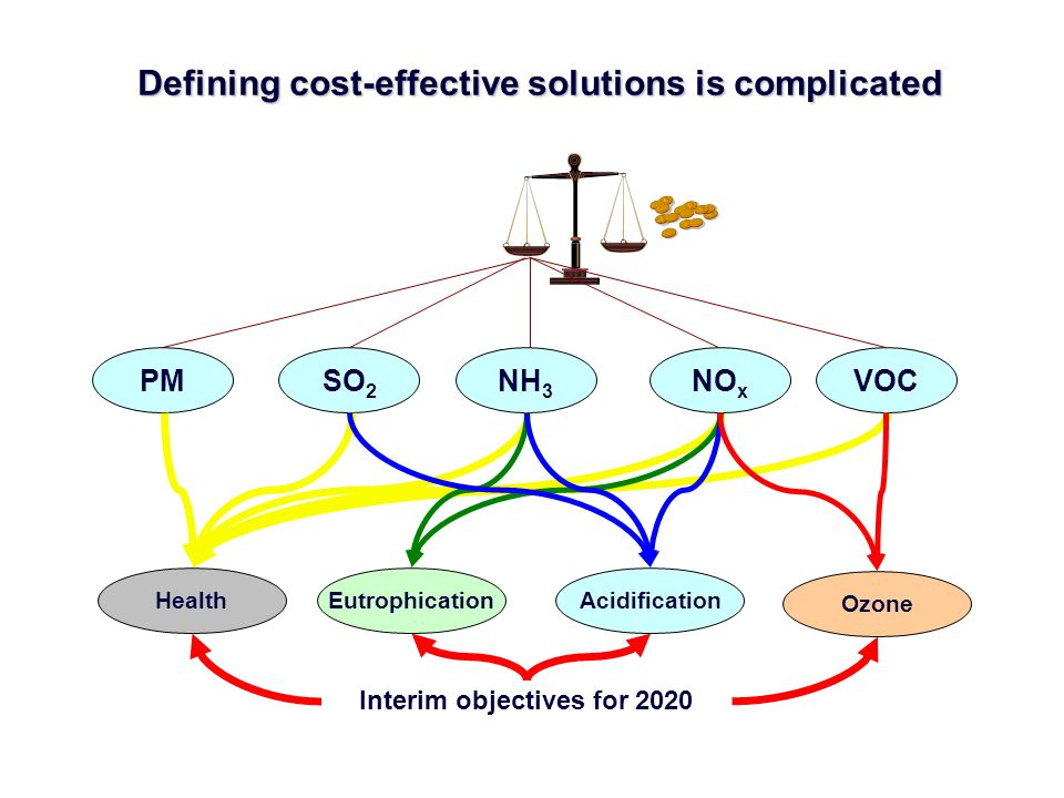Defining cost-effective solutions is complicated SO 2 NO x VOCNH 3 PM HealthAcidificationEutrophication Ozone Interim objectives for 2020