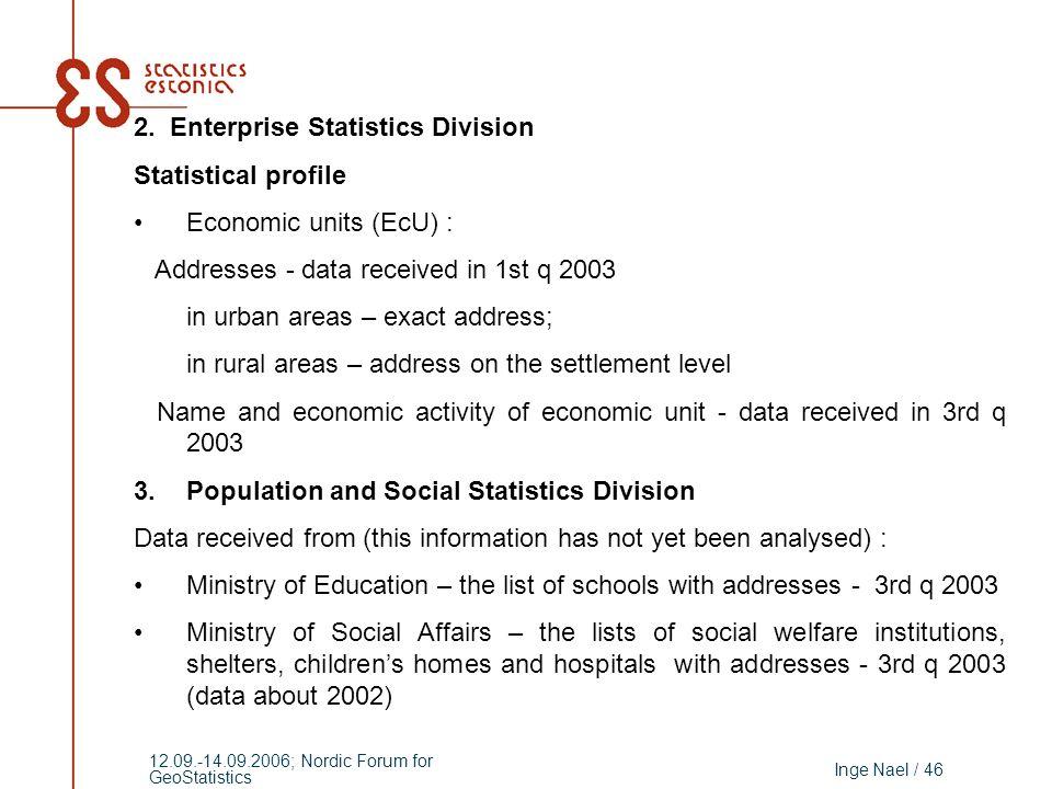 Inge Nael / 46 12.09.-14.09.2006; Nordic Forum for GeoStatistics 2. Enterprise Statistics Division Statistical profile Economic units (EcU) : Addresse