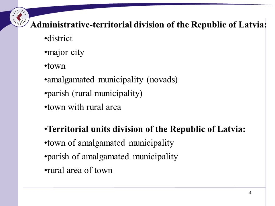 4 Administrative-territorial division of the Republic of Latvia: district major city town amalgamated municipality (novads) parish (rural municipality) town with rural area Territorial units division of the Republic of Latvia: town of amalgamated municipality parish of amalgamated municipality rural area of town