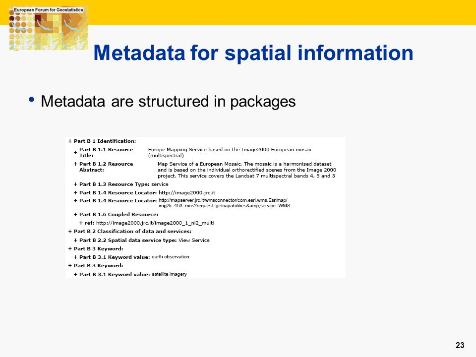 23 Metadata for spatial information Metadata are structured in packages