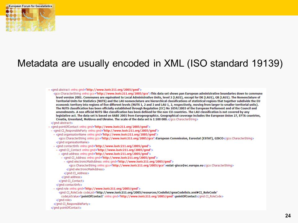 24 Metadata are usually encoded in XML (ISO standard 19139)