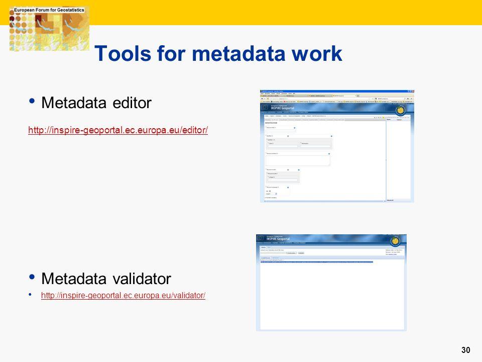 30 Tools for metadata work Metadata editor http://inspire-geoportal.ec.europa.eu/editor/ Metadata validator http://inspire-geoportal.ec.europa.eu/vali