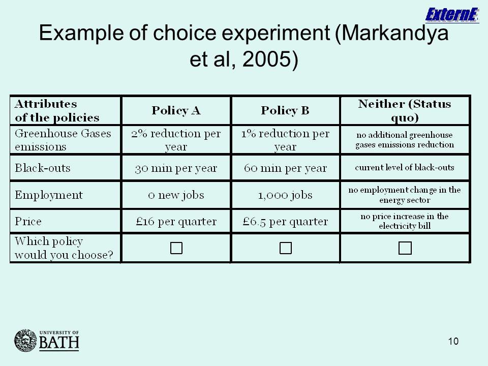 10 Example of choice experiment (Markandya et al, 2005)