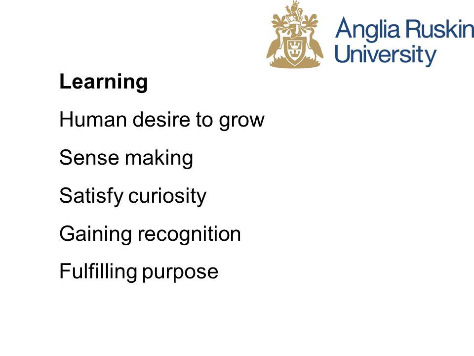 Learning Human desire to grow Sense making Satisfy curiosity Gaining recognition Fulfilling purpose
