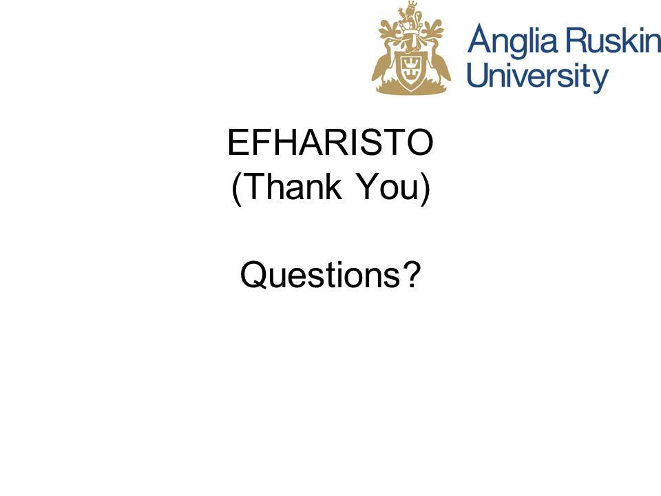 EFHARISTO (Thank You) Questions?