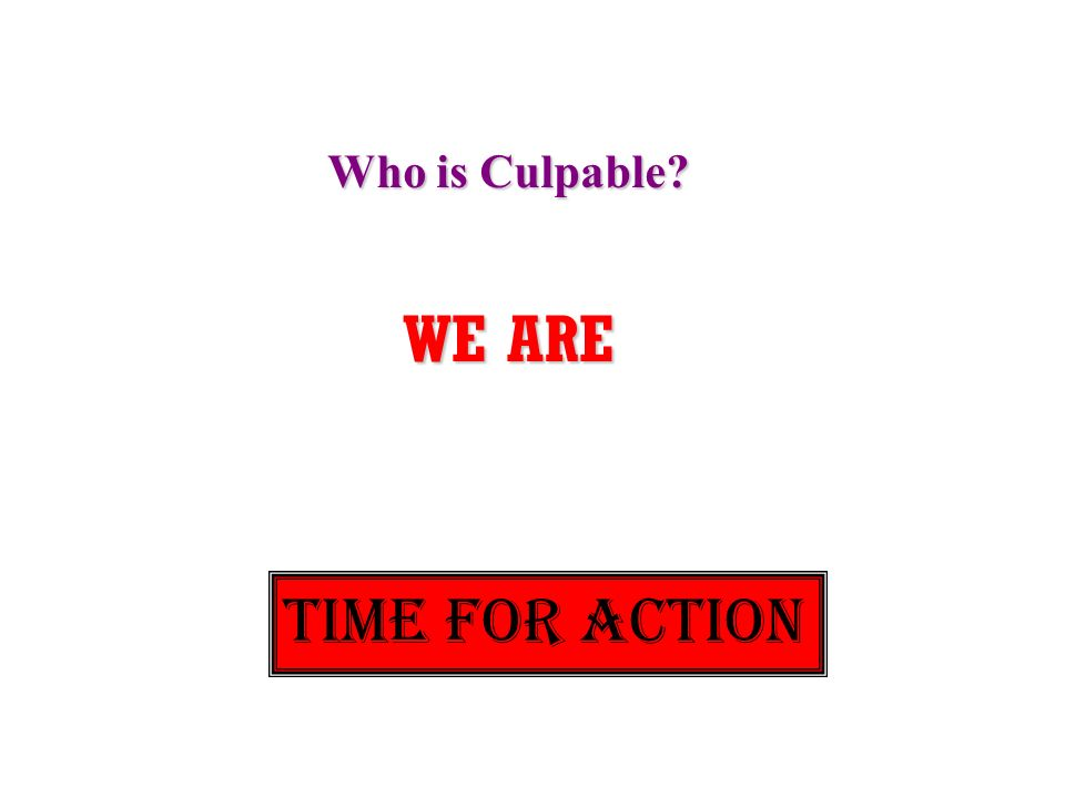 Who is Culpable? WE ARE TIME FOR ACTION
