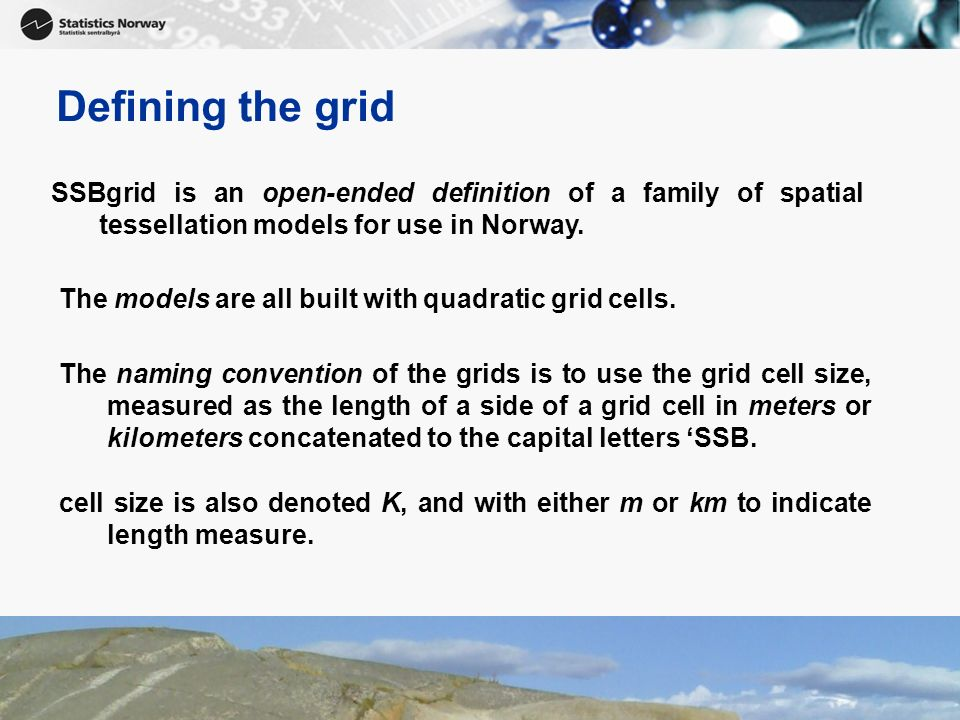 7 Defining the grid Grid nameCell size Number of cells SSB100m (1)0.01 km2Approx.