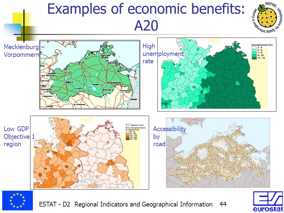 ESTAT - D2 Regional Indicators and Geographical Information 44 Examples of economic benefits: A20 Mecklenburg – Vorpommern High unemployment rate Low GDP Objective 1 region Accessibility by road
