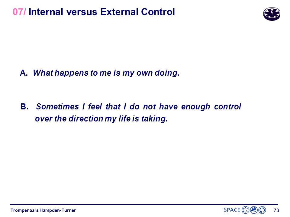 72 Trompenaars Hampden-Turner 07/ Internal versus External Control Internal Control Nature as a mechanism Dominance over nature External Control Natur