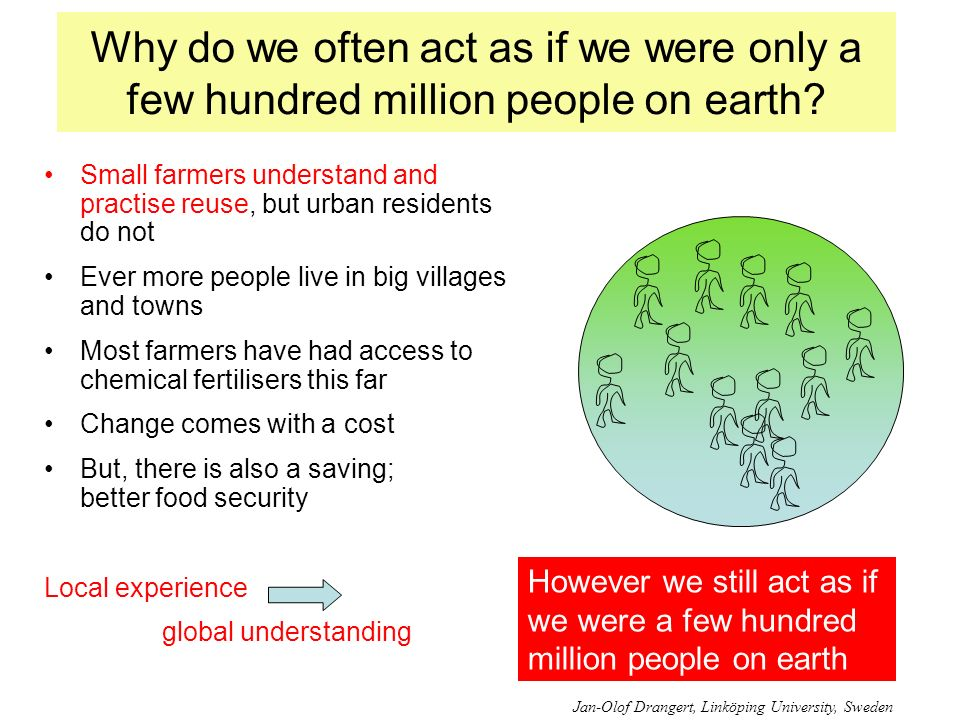 Why do we often act as if we were only a few hundred million people on earth? Small farmers understand and practise reuse, but urban residents do not