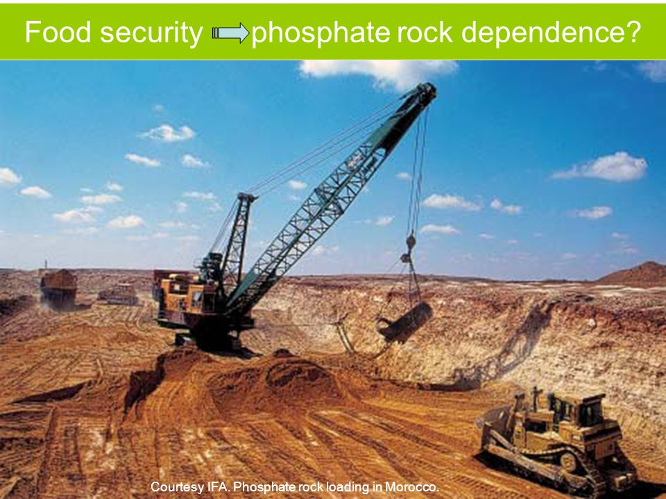 Food security phosphate rock dependence? Courtesy IFA. Phosphate rock loading in Morocco.