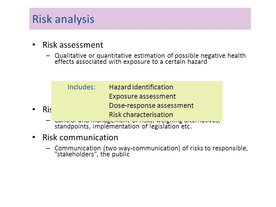 Risk assessment – Qualitative or quantitative estimation of possible negative health effects associated with exposure to a certain hazard Risk managem