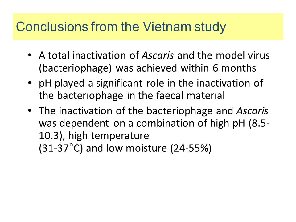 A total inactivation of Ascaris and the model virus (bacteriophage) was achieved within 6 months pH played a significant role in the inactivation of t