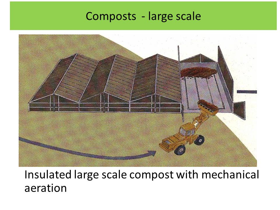 Composts - large scale Insulated large scale compost with mechanical aeration