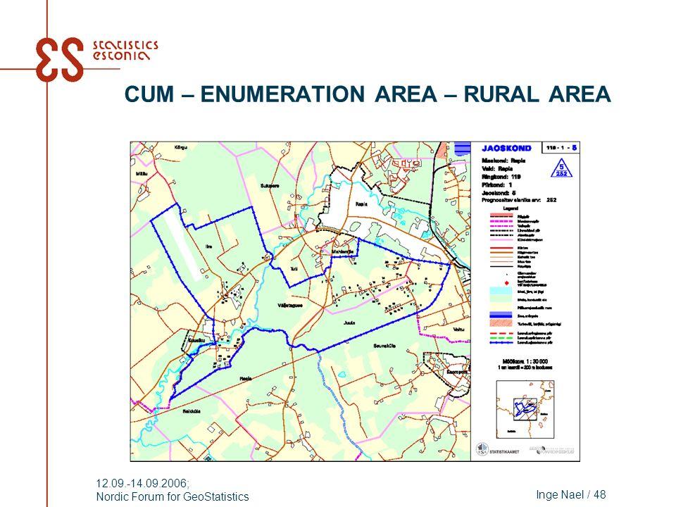 Inge Nael / 48 12.09.-14.09.2006; Nordic Forum for GeoStatistics CUM – ENUMERATION AREA – RURAL AREA