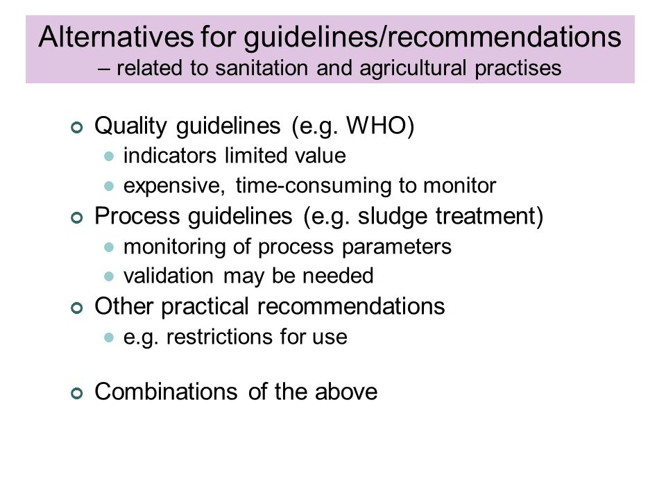 Quality guidelines (e.g.