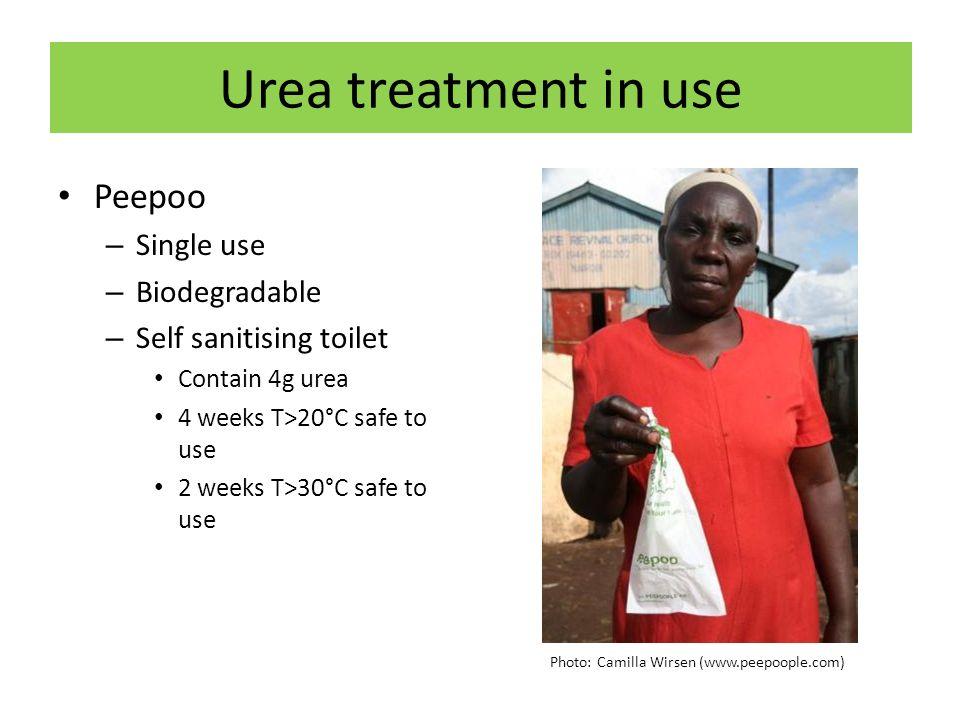 Urea treatment in use Peepoo – Single use – Biodegradable – Self sanitising toilet Contain 4g urea 4 weeks T>20°C safe to use 2 weeks T>30°C safe to u