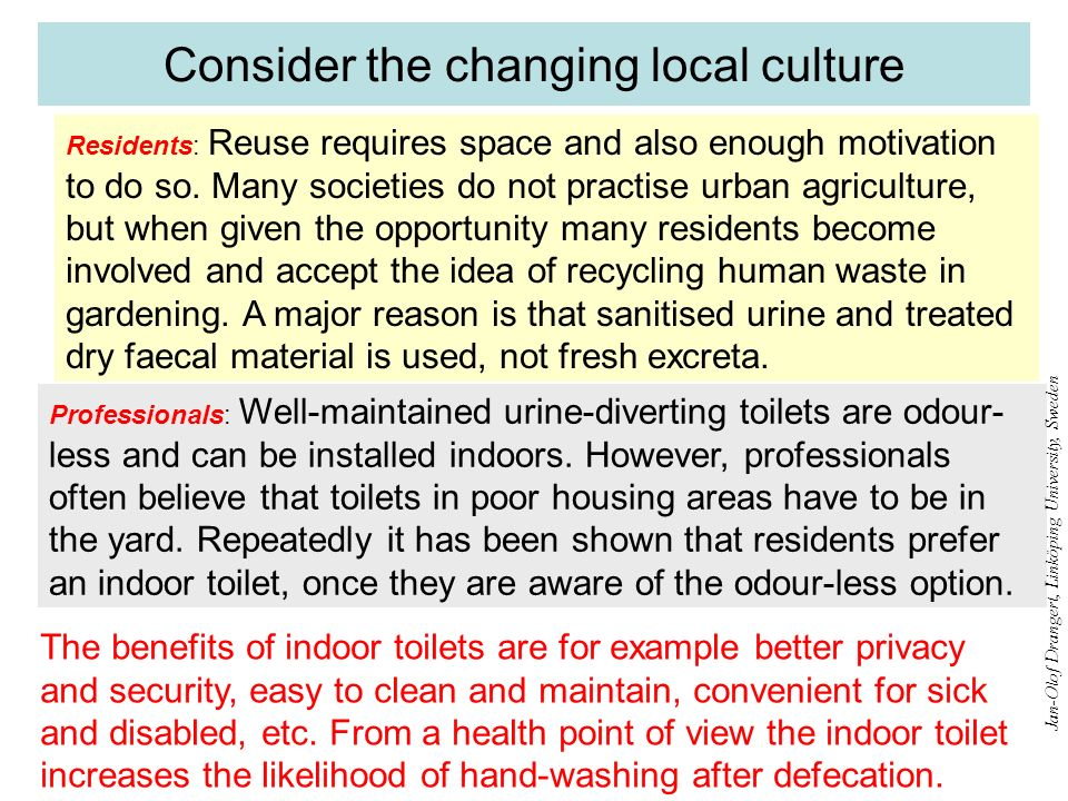 Consider the changing local culture Residents: Reuse requires space and also enough motivation to do so. Many societies do not practise urban agricult