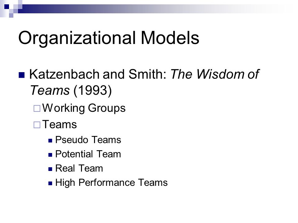 Working Group Individual Accountability Performance depends on individual performance