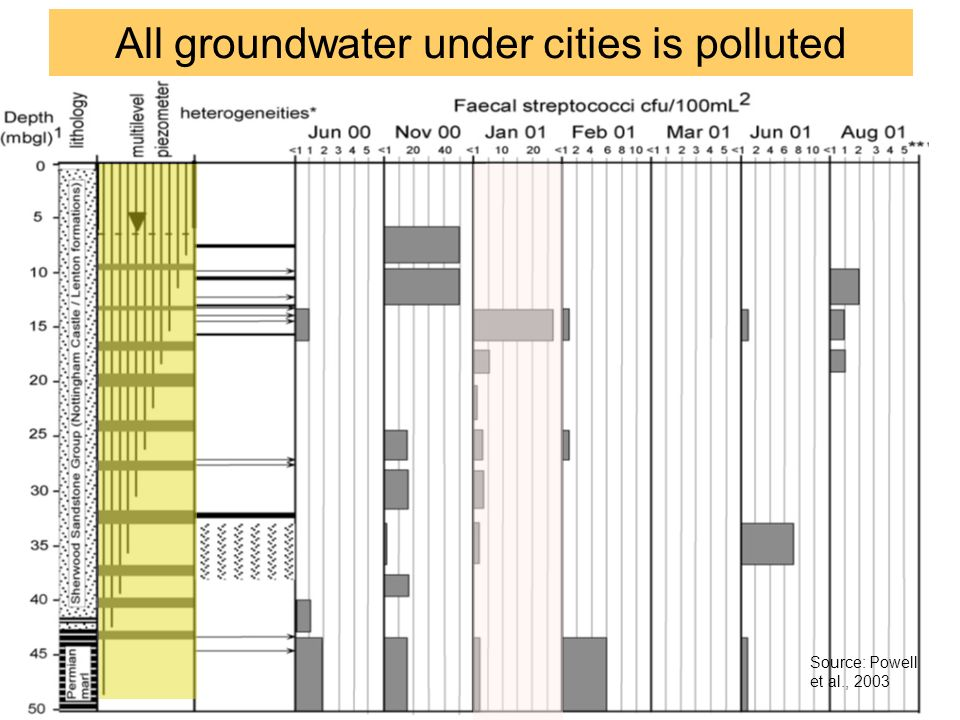 All groundwater under cities is polluted Source: Powell et al., 2003