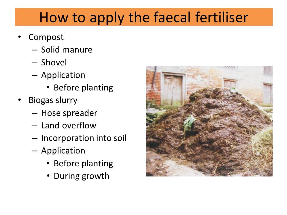 Compost – Solid manure – Shovel – Application Before planting Biogas slurry – Hose spreader – Land overflow – Incorporation into soil – Application Before planting During growth How to apply the faecal fertiliser