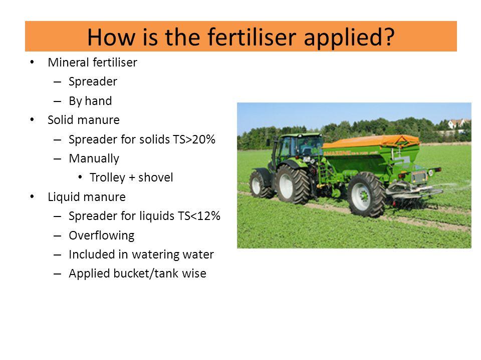 How is the fertiliser applied.