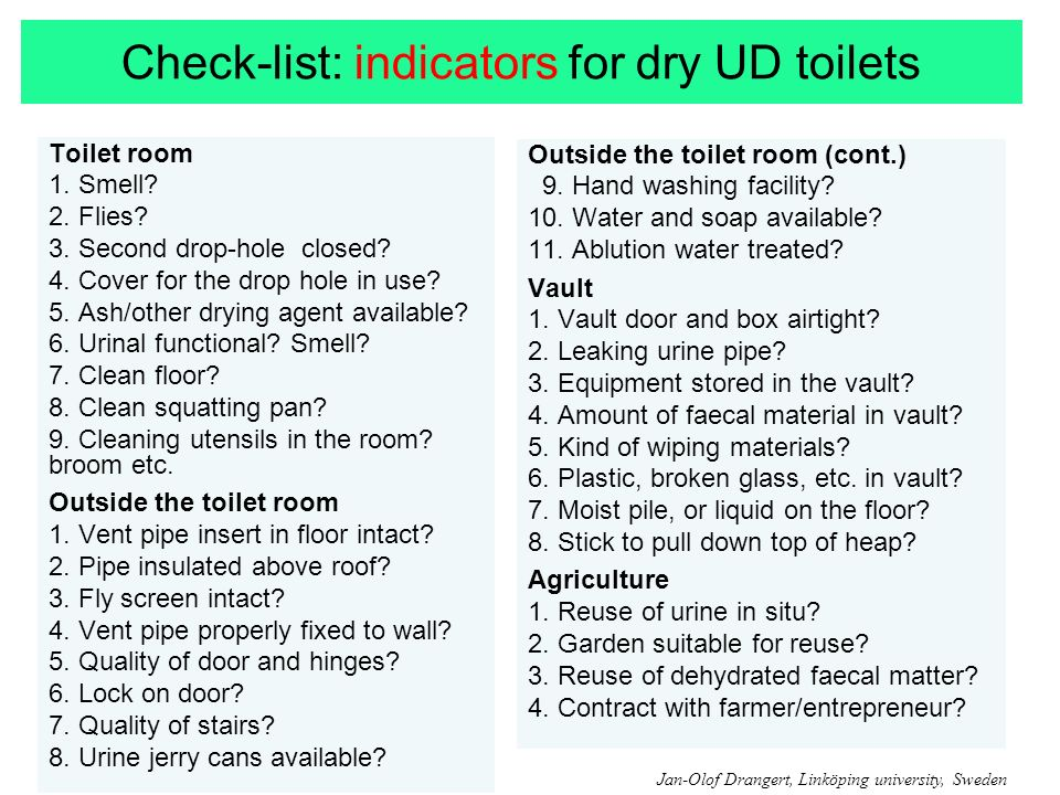 Check-list: indicators for dry UD toilets Toilet room 1.
