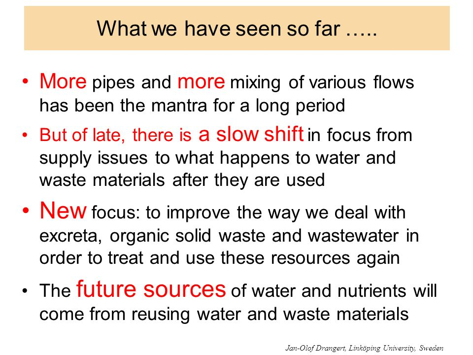 What we have seen so far ….. More pipes and more mixing of various flows has been the mantra for a long period But of late, there is a slow shift in f