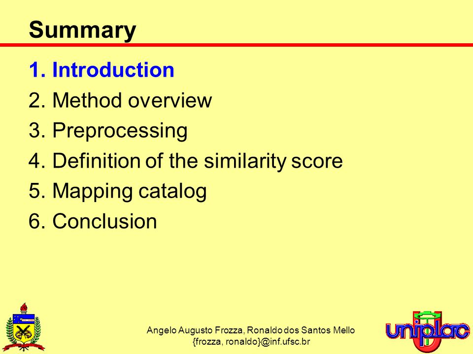 Angelo Augusto Frozza, Ronaldo dos Santos Mello {frozza, Summary 1.Introduction 2.Method overview 3.Preprocessing 4.Definition of the similarity score 5.Mapping catalog 6.Conclusion