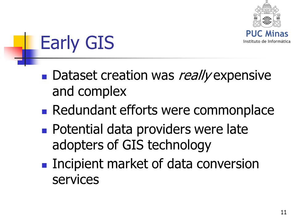 11 Early GIS Dataset creation was really expensive and complex Redundant efforts were commonplace Potential data providers were late adopters of GIS technology Incipient market of data conversion services