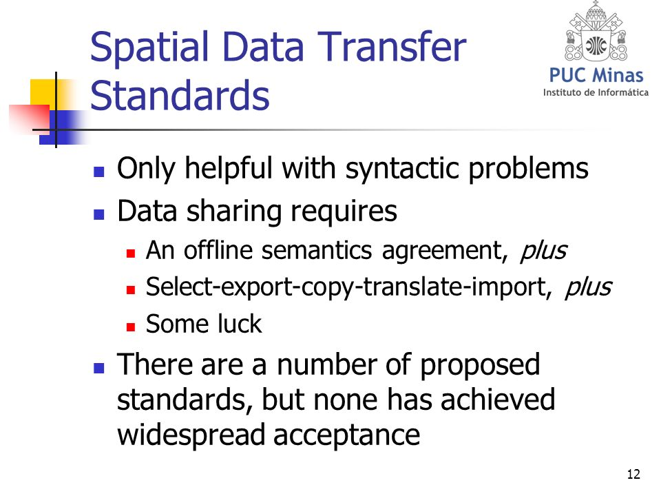 12 Spatial Data Transfer Standards Only helpful with syntactic problems Data sharing requires An offline semantics agreement, plus Select-export-copy-translate-import, plus Some luck There are a number of proposed standards, but none has achieved widespread acceptance