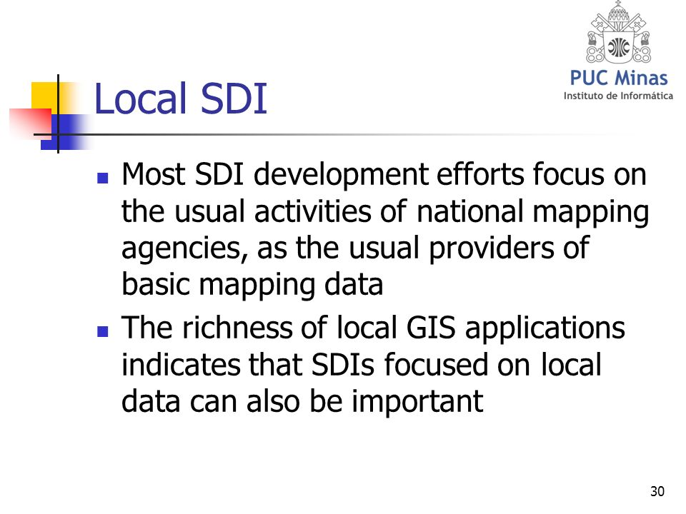 30 Local SDI Most SDI development efforts focus on the usual activities of national mapping agencies, as the usual providers of basic mapping data The richness of local GIS applications indicates that SDIs focused on local data can also be important