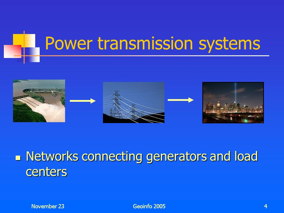 November 23Geoinfo 20053 Topics Power transmission and distribution systems Power transmission and distribution systems One-line diagrams One-line dia