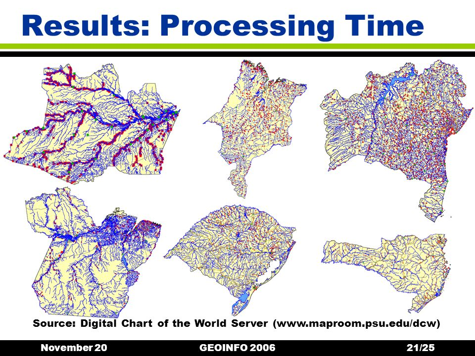 November 20GEOINFO 200621/25 Results: Processing Time Source: Digital Chart of the World Server (www.maproom.psu.edu/dcw)