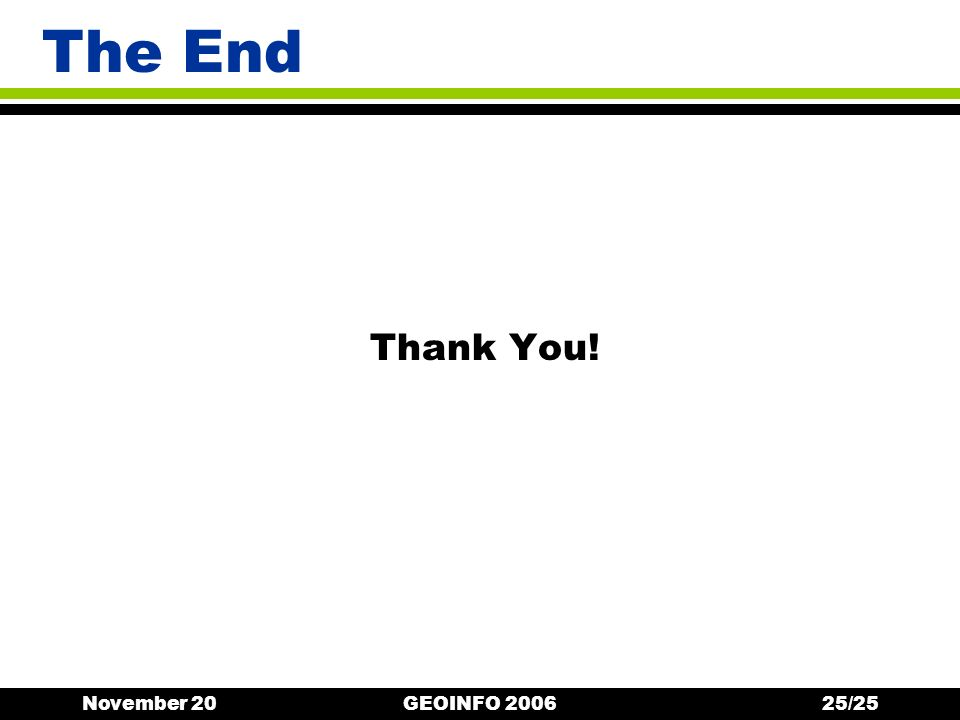 November 20GEOINFO 200625/25 The End Thank You!